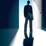 A businessman and an open door